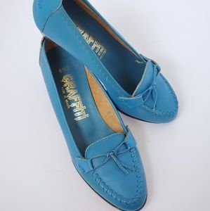 Vintage aqua blue leather pumps graffiti 6.5B